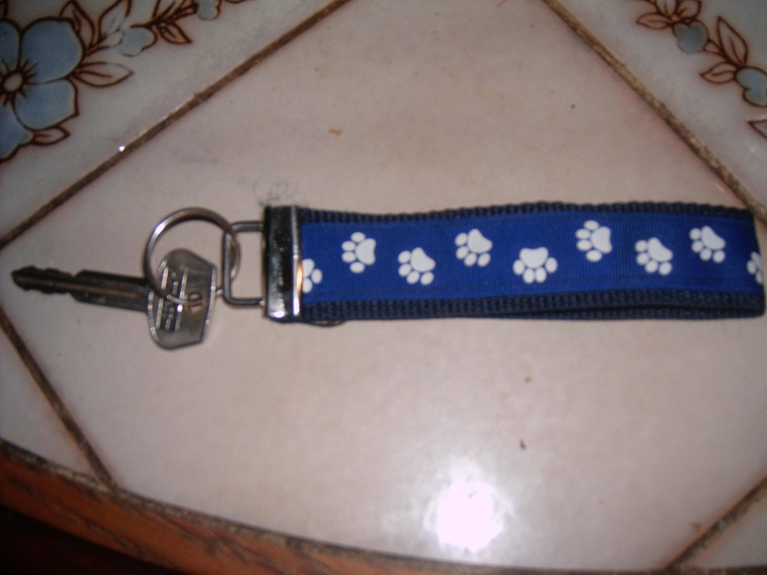 MadieBs Blue Paw Print Key Fob Wristlet New