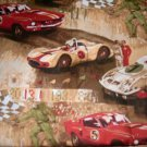 MadieBs Racing Cars on Tan  Personalized Pillowcase
