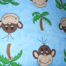 MadieBs  Cute Monkey Faces on Blue Flannel Cotton Toddler Bed Sheet Set 3 Pc