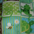 MadieBs Set of 2  Turtle Frog Green Brown & Aqua  Cotton  Crib Sheets