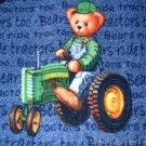 MadieBs  Teddy on John Deere Tractor  Fleece Toddler Baby Blanket