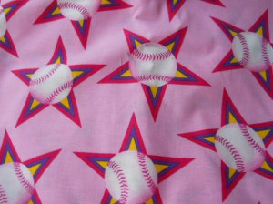 MadieBs BaseBalls on Pink Cotton Nap Mat Pad Cover w/Name