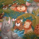MadieBs Set of 2 Jungle Babies Lion Ellephant Monkey Fitted  Cotton  Crib Sheets
