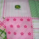 MadieBs John Deere Pink with Dots Custom  Baby Bed Quilt Blanket