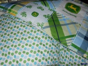 MadieBs John Deere with Dots Custom  Baby Bed Quilt Blanket