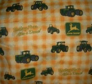 MadieBs Custom  John Deere Yellow Plaid 3 Piece Toddler Sheet Set