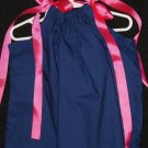 Solid Navy with Pink Ribbon