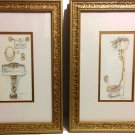 Beautiful Set of Two Peggy Abrams Guilded Framed Bathroom Prints - Under Glass
