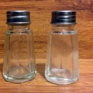Vintage Eight Sided Glass Salt & Pepper Shakers Stainless Steel Top - 1970's