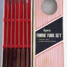 Vintage Set of 6 RoseWood Handles Stainless Steel Fondue Forks