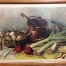 Vintage Henk Bos Framed 12 x 18 Still Live Vegetable, Egg and Soup Pot Print - 1