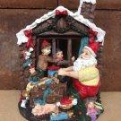 Hand Painted Santa's Workshop Scene Polyresin Figurine - Christmas Decor