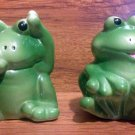 Vintage Playful Baby Frog Salt & Pepper Shakers - 1980's