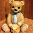 Vintage Homco Figurine Boy Bear with Blue Tie and Honey Pot - #1405