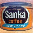 Vintage Sanka New Blend One Pound Coffee Tin - circa 1975