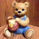 Vintage Homco Figurine Bear in Overalls with a Honey Pot - #1425