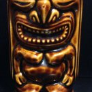 Vintage LeiLani Polynesian Tiki Man Tiki God Dark Brown Ceramic Mug Vase