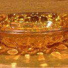 Vintage Blenko Amber Glass Ash Tray with Pebble Bottom - 1970's