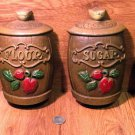 Vintage Sexton Metal Coffee, Flour, Sugar and Tea Wall Hanging Canister Set - 19