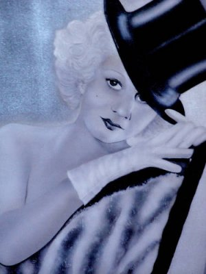 JEAN HARLOW AIRBRUSH ON CANVAS 1930'S TOP HAT MOVIE