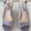 Southern Bon-ton Blue Plaid Sookie shoes Wedges Size 6