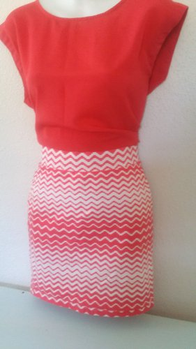 Summer Fun Forever 21 Light Red  Stripe Skirt and Red Back button Shirt
