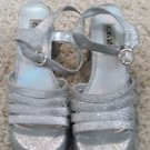 Halloween LARGE SIZE SILVER DISCO GLITTER SHOES SIZE 10