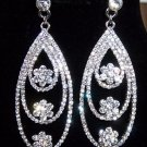 Luxury Rhinstone Flowers Water Drop Platinum Plated Bridal Earrings