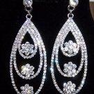 Luxury Rhinstone Flowers Water Drop Platinum Plated Bridal Earrings
