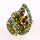 Gold Tone Adjustable Ring with Genuine Austrian Rhinestone Green