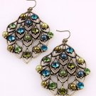 Leaves Design with Crystal Antique Gold Tone Hook Earrings B&G