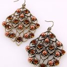 Vintage Leaves Looking Crystal Beads Antique Gold Tone Metal Hook Earrings Brown