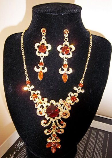 Luxury Topaz with Crystal Gold Plated Earrings & Necklace Set