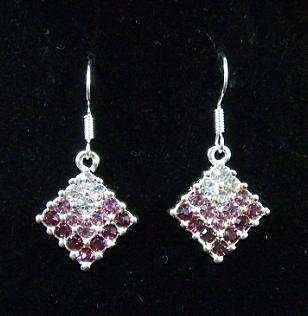 Squarel Design Rhinestone Earrings purple