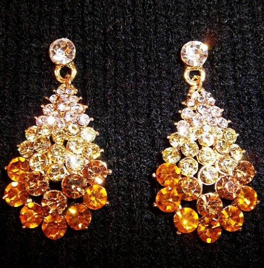 Trio Of Colors Tear Drop Crystal Earrings