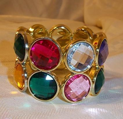 Vintage Design Bead Looking Plastic Stretch Bracelet Bangle  multi-color