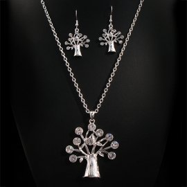 Vintage Looking Crystal Paved Tree pendant and Earring Set Clear Crystal