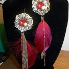 Antique Gold Tone Metal Hook Crystal Beads With Plume Dangle Earrings Red