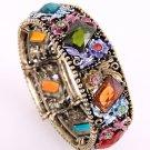 Antique Metal Looking  Stretch Cuff Bracelet With Genuine Austrian Rhinestone & Stone
