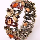 Sunflower Motif Crystal Antique Gold Tone Metal Stretch Cuff Bracelet Brown