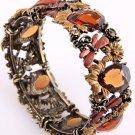 Water Nymph Antique Gold Tone Metal Stretch Cuff Bracelet