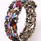 Antique Metal Looking Stretch Cuff Bracelet With Genuine Austrian Rhinestone &Stone
