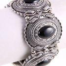 Vintage Black Crystal Antique Metal Looking Stretch Metal Bracelet