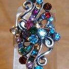 Silver With Multi Rhinestone Adjustable Ring Blue