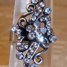 Silver With Clear Rhinestone Adjustable Ring