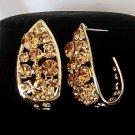 Gold Plated Crystal Pave Tear Drop Looking Stud Design Vintage Earrings