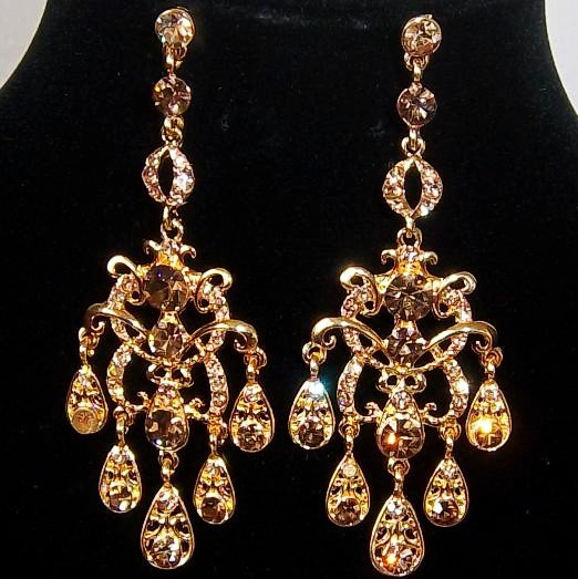 Gold Plated Crystal Pave Chandelier Design Vintage Look Dangle Earrings