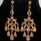 Gold Plated Crystal Pave Chandelier Design Vintage Look Dangle Earrings