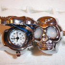 Silver Plated Skull Design Stretch Adjustable Ring Watch White Eyes