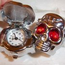 Stainless Steel Skull Design Stretch Adjustable Ring Watch Red Eyes